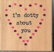 "Docrafts Amor ""I'm Dotty acerca de usted"" Forma De Corazón De Goma Sello en bloque de madera"