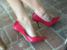 *swEET ReD Sz 7 PaTeNT Leather Pointy Toe CARRIE Stilettos Heels PUMPs GuESS