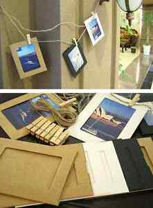 "3""/4""/5""/6""/7""/8"" Kraft Paper Photo Frame DIY Hanging Album Gallery + Twine Peg"