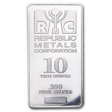 10 oz Silver Bar -.999 Fine Republic Metals Corporation (RMC)