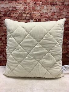 MARTHA STEWART COLLECTION STITCHED QUILTED 26'' EURO  PILLOW IVORY