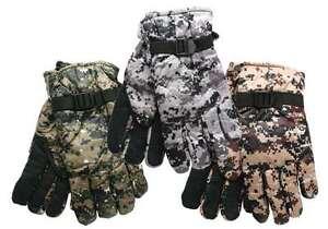 Digital Camo Ski Gloves choose from Green, Gray, or Desert Tan