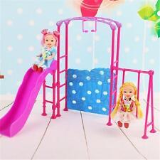 Plastic Slide Swing Climber Playground Dollhouse For Kid Baby Girl Barbie Doll