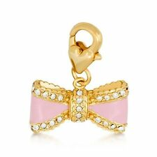 40% SALE!-Genuine Disney Couture GP Crystal Set Pink Bow Enamel Charm RRP$39