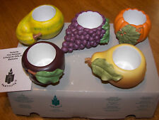 PartyLite Harvest Medley Candle Holders Nib P7258 Unused grape pumpkin squash