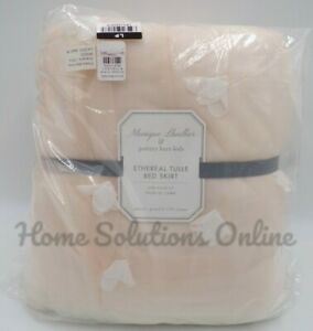 """Pottery Barn Monique Lhuillier Ethereal BedSkirt Queen 16"""" Drop Blush Pink 1244C"""