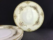 "Set of 4 Noritake Japan Milford 89486  8-7/8"" Dessert/Salad Plates Gold Trim"
