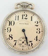 SUPERB SOUTH BEND 1927 STUDEBAKER 16S 21J DOUBLE ROLLER POCKET WATCH, WORKING.