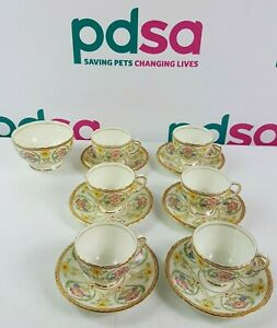 Vintage SUTHERLAND CHINA x6 Tea Cups With Saucers And x1 Sugar Bowl - S4_97