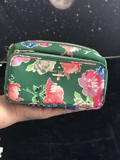 Kate Spade Green Floral Make Up Bag Bow Zippers
