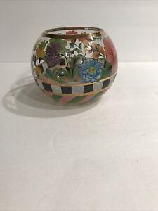 "MacKenzie-Childs ""Heirloom"" Glass Spring Flower Handpainted Bowl NWOB!"