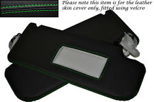 GREEN STITCH FITS SEAT LEON TOLEDO ALTEA 06-11 2X SUN VISORS LEATHER COVERS ONLY