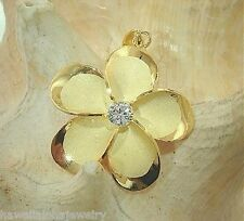 28mm 14k Yellow Gold Over STER Silver Hawaiian Brushed Satin Plumeria Pendant #2
