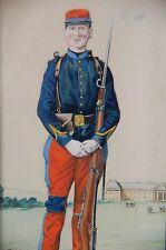 Guillaume Charles BRUN Aquarelle Dessin Militaire WW1/WWI Peinture Empire French