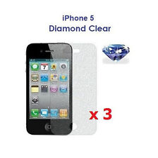 3 x New Diamond Sparkling Glitter Shimmer Screen Protector for Apple iPhone 5 5G