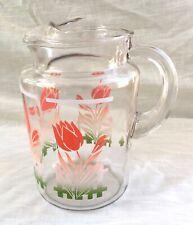 Vintage Depression Era Glass Pitcher - Red Tulips & Picket Fence