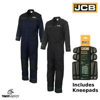JCB Trade Coveralls Mens Heavy Duty Overalls Boilersuit Mechanics With Kneepads
