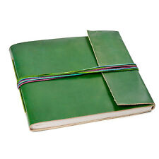 Fair Trade Handmade 3 String Green Leather Photo Album 2nd Quality