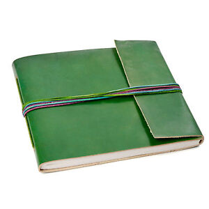 Fair Trade Handmade 3-String Green Leather Photo Album, 30 Pages - 2nd Quality