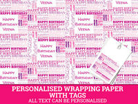 Personalised Wrapping Paper Any Name Any Age Happy Birthday pink Gift Wrap