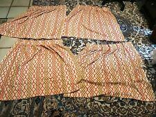 "New listing Vintage 1960s 1970s Curtains Orange/Brown Geometric Pattern 24"" W x 32"" H"