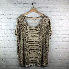 Michael Michael Kors Shirt Women's 2X Animal Print Multicolor Stretchy Short Slv