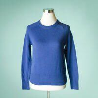 J Crew Size XS Sweater Blue Holly Wool Pullover Crew Neck Long Sleeve NWT