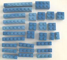 LEGO BRICKS (28) MIXED SIZES, BLUE, USED