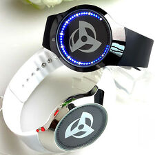 Anime Naruto Syaringan Logo Led Touch Screen Glass Electronic Watch Pu Strap Hot