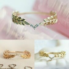 """Women SMALL dainty Vintage design """"COSTUME"""" Ring Electro plated gold Rhinstones"""