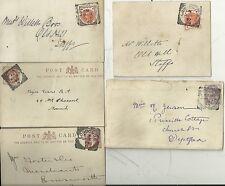 1890/7 London S.E. Squared Cerchi su 4 CARTOLERIA postale Cards & 1 Cover-ARTE