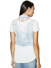 GUESS Vest Women's Cropped Stretch Denim Vest Jacket w- Crochet Back S Blue NWT