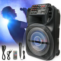 "12"" Subwoofer FM Portable Bluetooth Speaker Tweeter Stereo Audio Trolley AUX Mic"