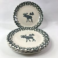 Folk Craft Moose Country Set Of 4 Dinner Plates Tienshan Pottery 10 1/2 Inches