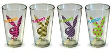 PLAYBOY Mens Magazine Brand 1980's BUNNY PATTERN 4 Pack 16 oz PINT GLASS SET New