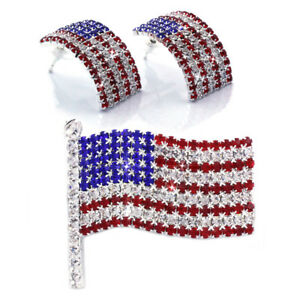 Red Blue 4th of July USA American Flag Brooch Pin Stud Post Earrings Gift Set