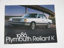 NOS 1986 Plymouth Reliant K Color Car Automobile Brochure MINT Condition