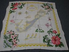 "VINTAGE TABLECLOTH w MAP OF BERMUDA SCENES & PINK RED HIBISCUS FLOWERS 51"" MINT!"