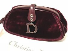 NWT Christian Dior Velour Clutch Bag Purse with dust cover  - Rouge Bordeaux