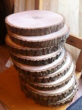 Set of 10x Real wood centre piece Log Slice Table Rustic Ash Chic 20-25x2.5cm