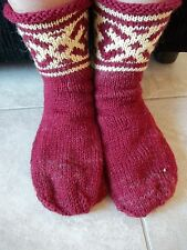 Hand knitted 100% wool socks with Latvian pattern, reddish brown
