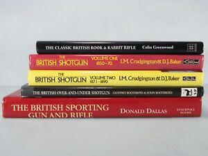 Lot of 5 Illustrated Hardcover Books About VINTAGE BRITISH SHOTGUNS & RIFLES