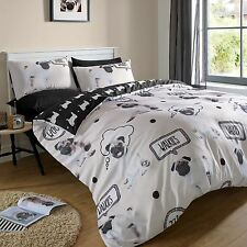 PUG WALKIES SINGLE DUVET COVER & PILLOWCASE SET CUTE PUGS CREAM & BLACK NEW