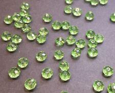 30 perles 6x4mm à facettes verre vert clair