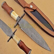 Damascus Steel Hunting Dagger Twist Handle Bone Rose Wood Domascus Guard{QN-47}