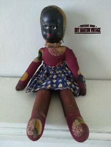 ANTIQUE VINTAGE BLACK AFRICAN COMPOSITION DOLL HAND MADE PRIMITIVE COLLECTOR