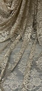 Gold Floral Chantilly Lace Fabric 58'' PRICE PER METER