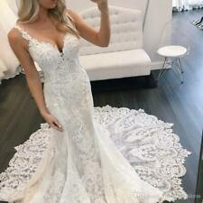 Mermaid Spaghetti Straps Lace Wedding Dresses Lace Applique Backless Bridal Gown