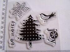 HALF SHEET CHRISTMAS NORDIC TREE POINSETTIA BIRD JOY SNOW CLEAR RUBBER STAMPS