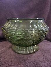 NAPCO green flower vintage glass vase/bowl/planter Cleveland,O Made in the USA